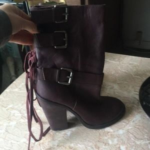Vince Camuto oxblood leather lace up boot